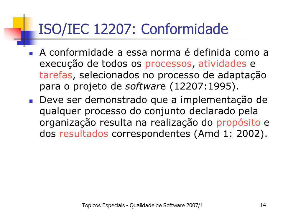 Tópicos Especiais - Qualidade de Software 2007/114 ISO/IEC 12207: Conformidade A conformidade a essa norma é definida como a execução de todos os proc