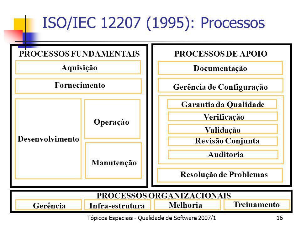 Tópicos Especiais - Qualidade de Software 2007/116 ISO/IEC 12207 (1995): Processos PROCESSOS FUNDAMENTAIS Aquisição Fornecimento Operação Manutenção D