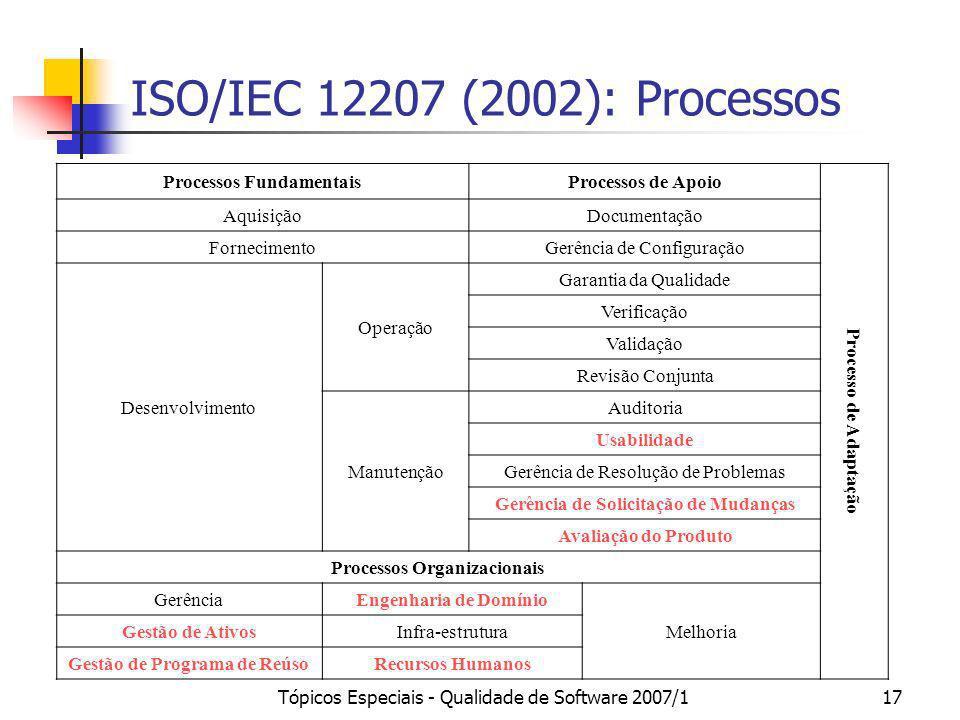 Tópicos Especiais - Qualidade de Software 2007/117 ISO/IEC 12207 (2002): Processos Processos FundamentaisProcessos de Apoio Processo de Adaptação Aqui