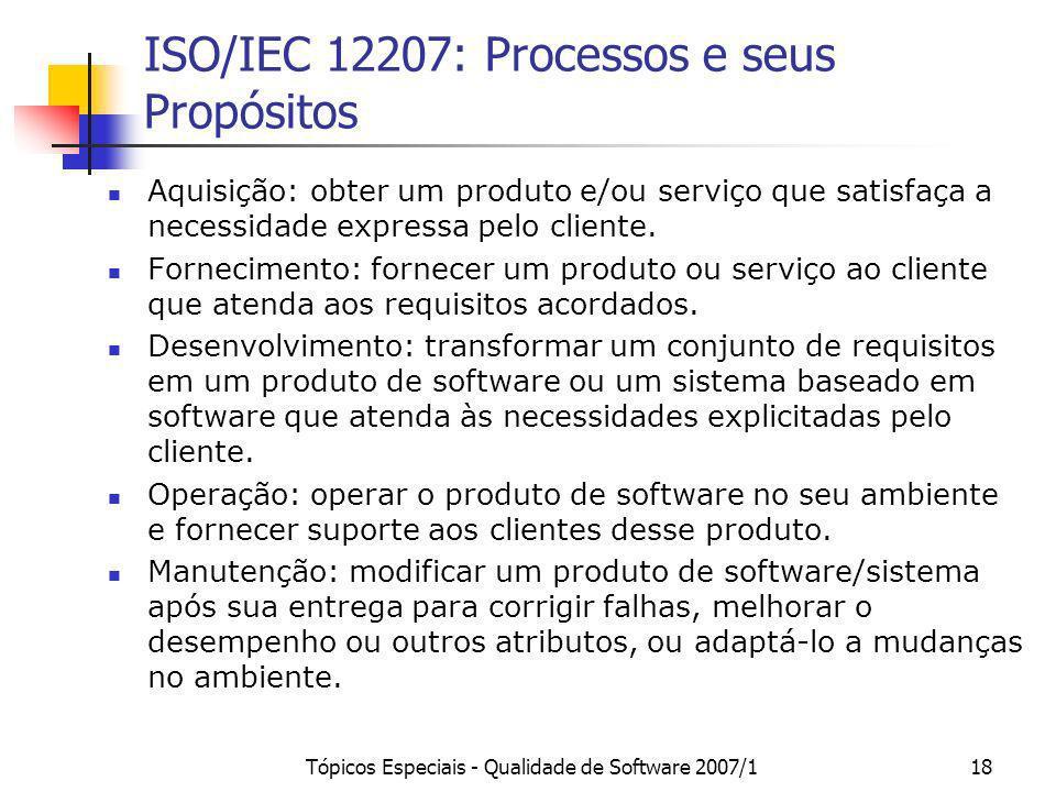 Tópicos Especiais - Qualidade de Software 2007/118 ISO/IEC 12207: Processos e seus Propósitos Aquisição: obter um produto e/ou serviço que satisfaça a