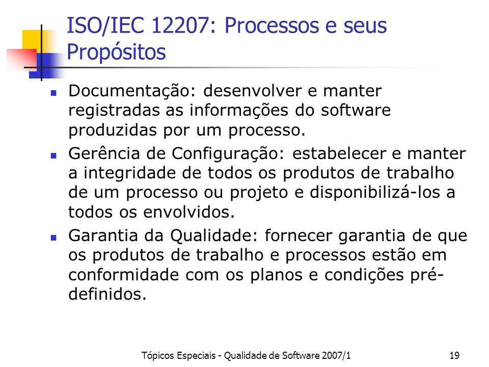 Tópicos Especiais - Qualidade de Software 2007/119 ISO/IEC 12207: Processos e seus Propósitos Documentação: desenvolver e manter registradas as inform