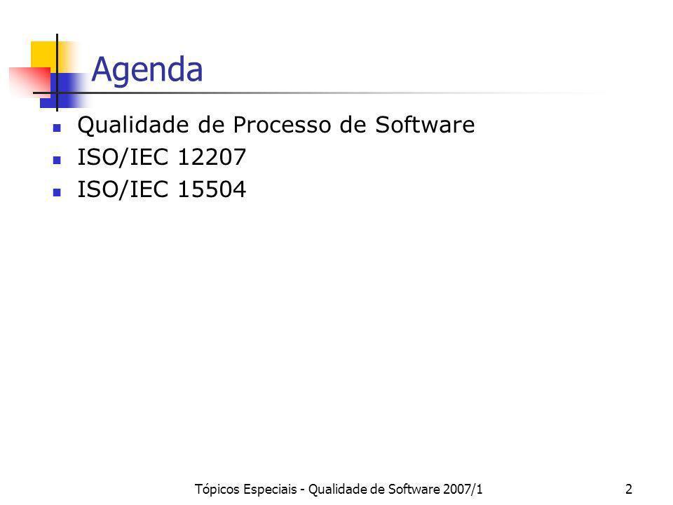 Tópicos Especiais - Qualidade de Software 2007/12 Agenda Qualidade de Processo de Software ISO/IEC 12207 ISO/IEC 15504