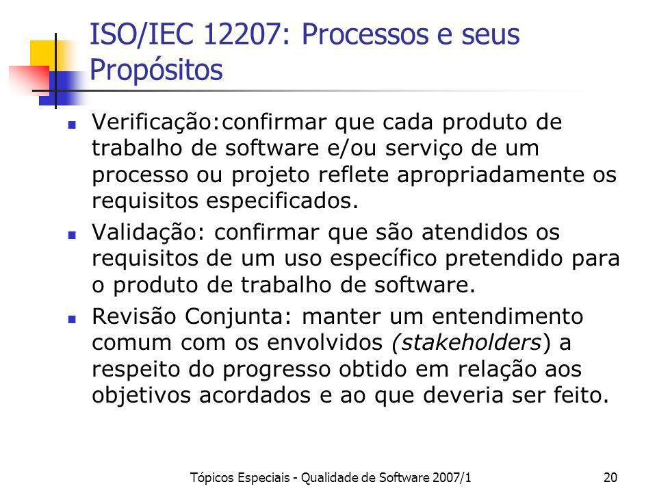 Tópicos Especiais - Qualidade de Software 2007/120 ISO/IEC 12207: Processos e seus Propósitos Verificação:confirmar que cada produto de trabalho de so