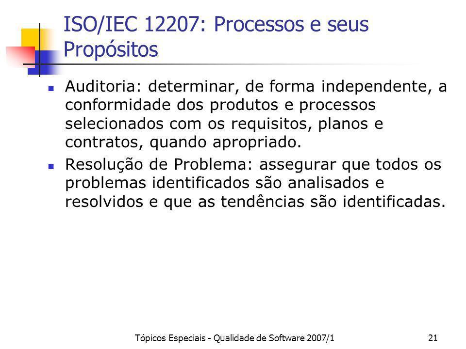 Tópicos Especiais - Qualidade de Software 2007/121 ISO/IEC 12207: Processos e seus Propósitos Auditoria: determinar, de forma independente, a conformi