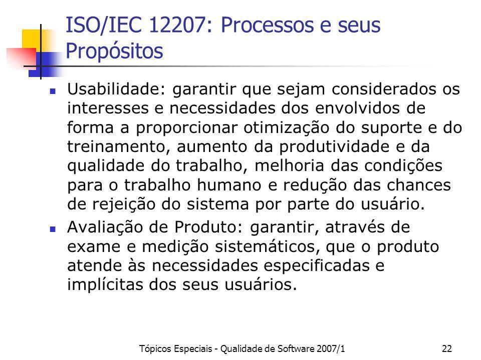 Tópicos Especiais - Qualidade de Software 2007/122 ISO/IEC 12207: Processos e seus Propósitos Usabilidade: garantir que sejam considerados os interess