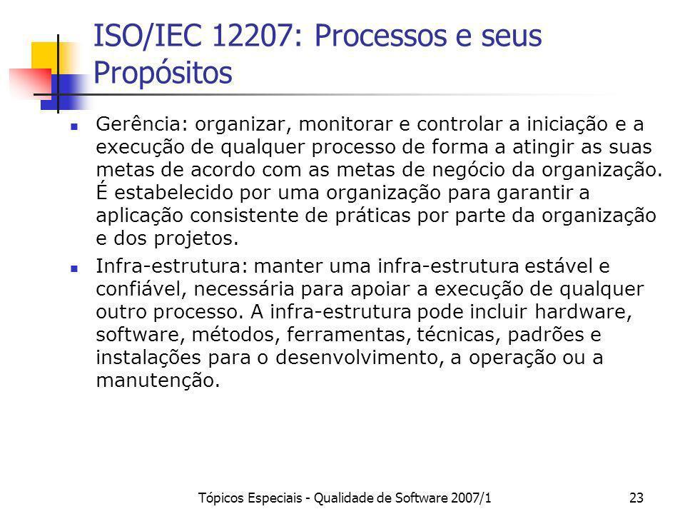 Tópicos Especiais - Qualidade de Software 2007/123 ISO/IEC 12207: Processos e seus Propósitos Gerência: organizar, monitorar e controlar a iniciação e