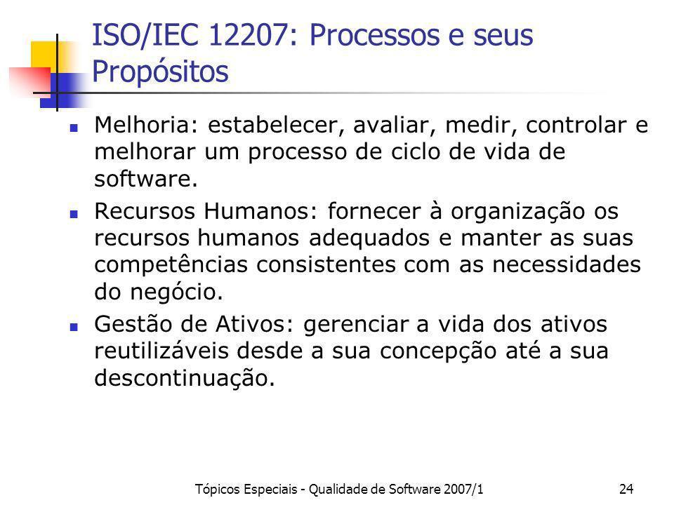 Tópicos Especiais - Qualidade de Software 2007/124 ISO/IEC 12207: Processos e seus Propósitos Melhoria: estabelecer, avaliar, medir, controlar e melho