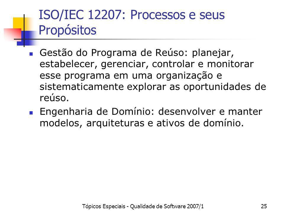 Tópicos Especiais - Qualidade de Software 2007/125 ISO/IEC 12207: Processos e seus Propósitos Gestão do Programa de Reúso: planejar, estabelecer, gere