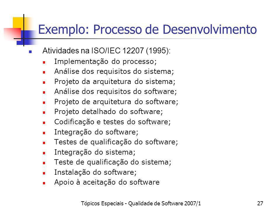 Tópicos Especiais - Qualidade de Software 2007/127 Exemplo: Processo de Desenvolvimento Atividades na ISO/IEC 12207 (1995): Implementação do processo;