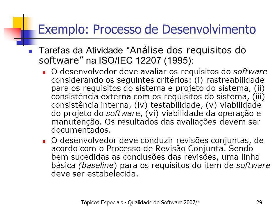 Tópicos Especiais - Qualidade de Software 2007/129 Exemplo: Processo de Desenvolvimento Tarefas da Atividade Análise dos requisitos do software na ISO