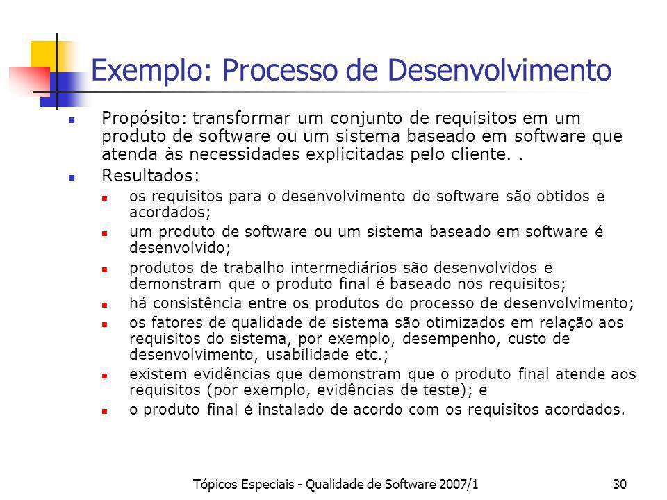 Tópicos Especiais - Qualidade de Software 2007/130 Exemplo: Processo de Desenvolvimento Propósito: transformar um conjunto de requisitos em um produto
