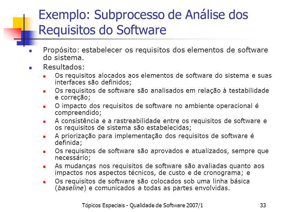Tópicos Especiais - Qualidade de Software 2007/133 Exemplo: Subprocesso de Análise dos Requisitos do Software Propósito: estabelecer os requisitos dos