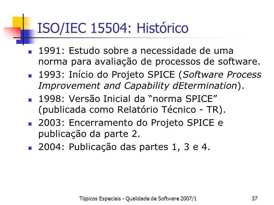 Tópicos Especiais - Qualidade de Software 2007/137 ISO/IEC 15504: Histórico 1991: Estudo sobre a necessidade de uma norma para avaliação de processos