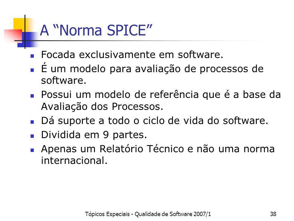 Tópicos Especiais - Qualidade de Software 2007/138 A Norma SPICE Focada exclusivamente em software. É um modelo para avaliação de processos de softwar