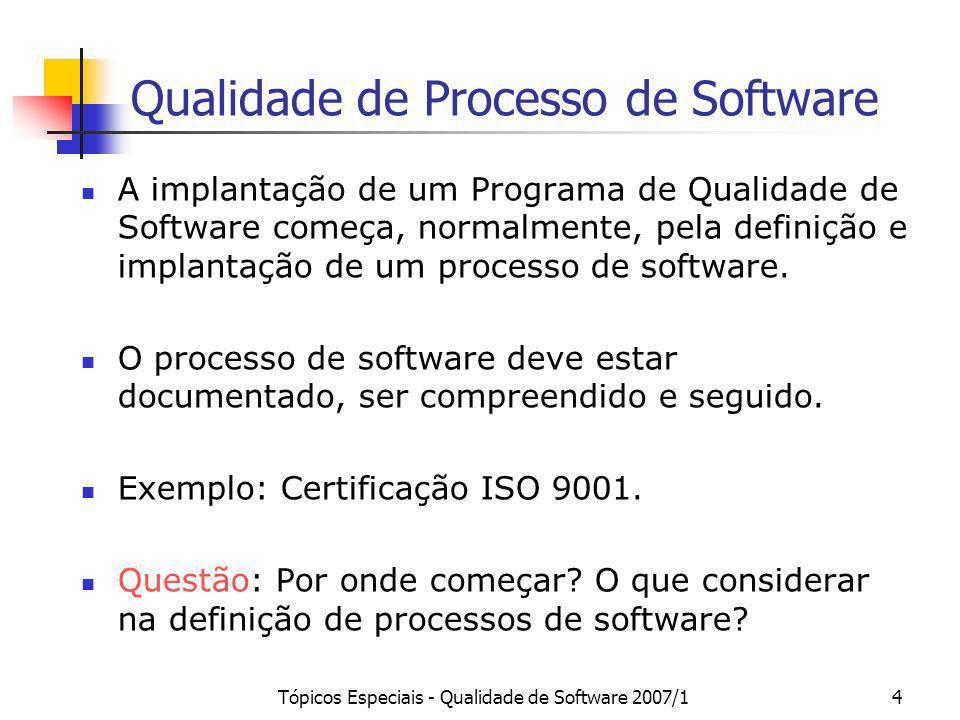 Tópicos Especiais - Qualidade de Software 2007/14 Qualidade de Processo de Software A implantação de um Programa de Qualidade de Software começa, norm