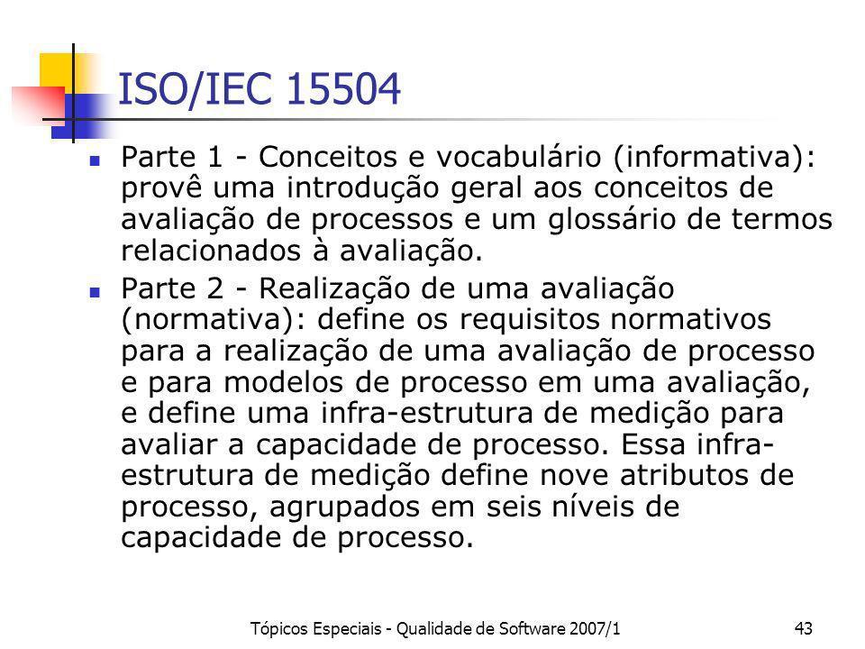 Tópicos Especiais - Qualidade de Software 2007/143 ISO/IEC 15504 Parte 1 - Conceitos e vocabulário (informativa): provê uma introdução geral aos conce