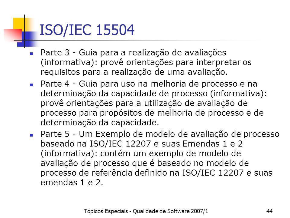 Tópicos Especiais - Qualidade de Software 2007/144 ISO/IEC 15504 Parte 3 - Guia para a realização de avaliações (informativa): provê orientações para