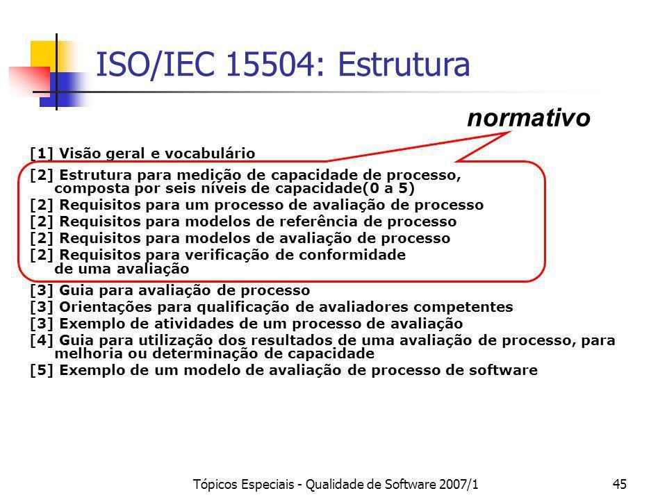 Tópicos Especiais - Qualidade de Software 2007/145 ISO/IEC 15504: Estrutura [1] Visão geral e vocabulário [2] Estrutura para medição de capacidade de