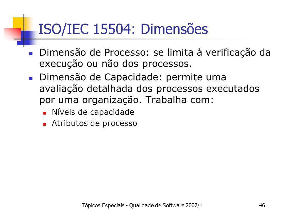 Tópicos Especiais - Qualidade de Software 2007/146 ISO/IEC 15504: Dimensões Dimensão de Processo: se limita à verificação da execução ou não dos proce