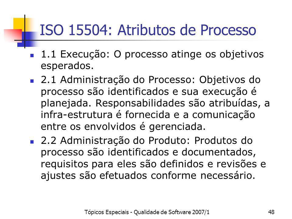 Tópicos Especiais - Qualidade de Software 2007/148 ISO 15504: Atributos de Processo 1.1 Execução: O processo atinge os objetivos esperados. 2.1 Admini