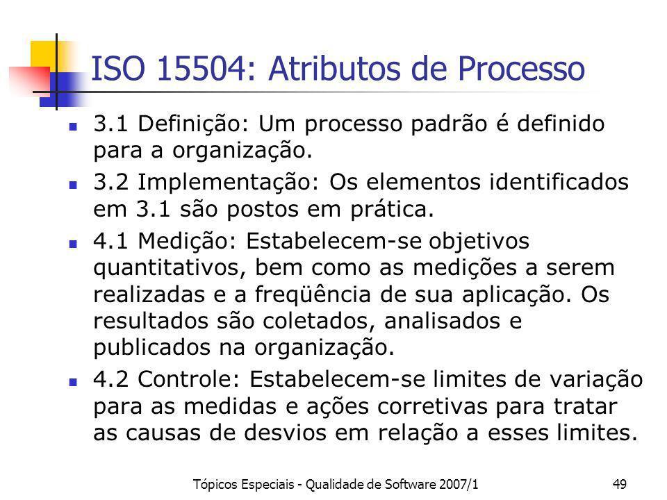 Tópicos Especiais - Qualidade de Software 2007/149 ISO 15504: Atributos de Processo 3.1 Definição: Um processo padrão é definido para a organização. 3