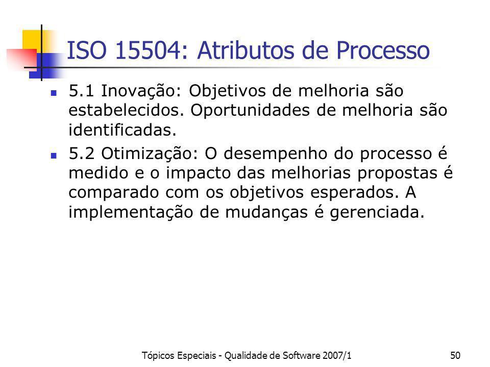 Tópicos Especiais - Qualidade de Software 2007/150 ISO 15504: Atributos de Processo 5.1 Inovação: Objetivos de melhoria são estabelecidos. Oportunidad