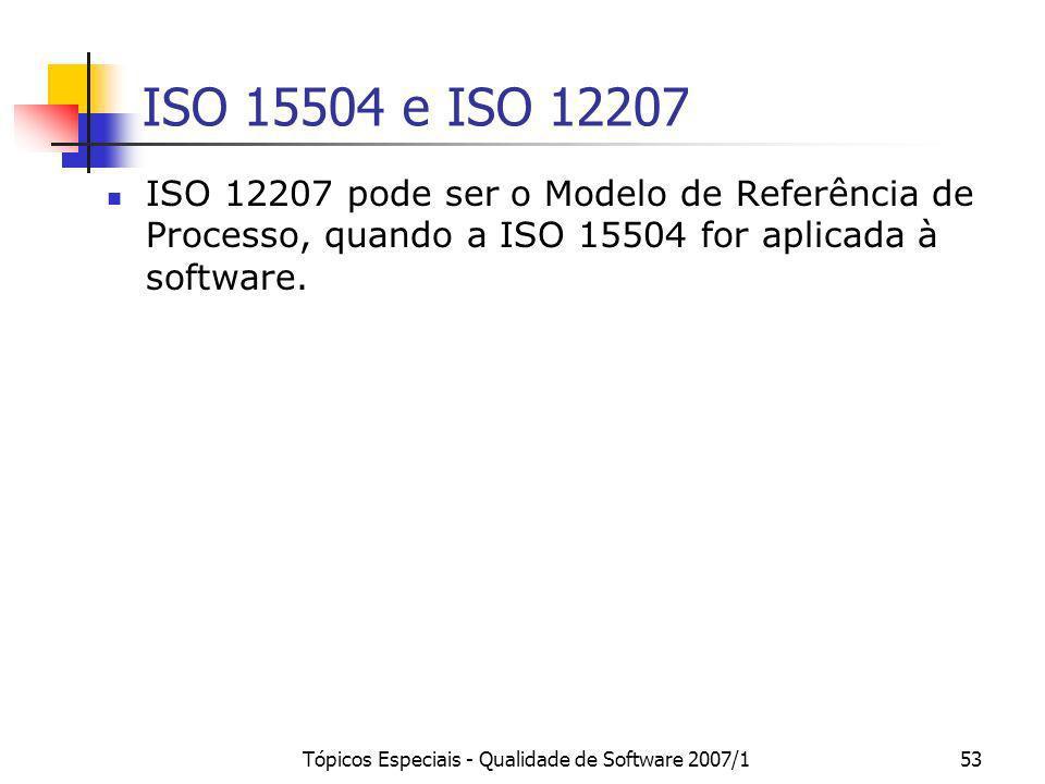 Tópicos Especiais - Qualidade de Software 2007/153 ISO 15504 e ISO 12207 ISO 12207 pode ser o Modelo de Referência de Processo, quando a ISO 15504 for