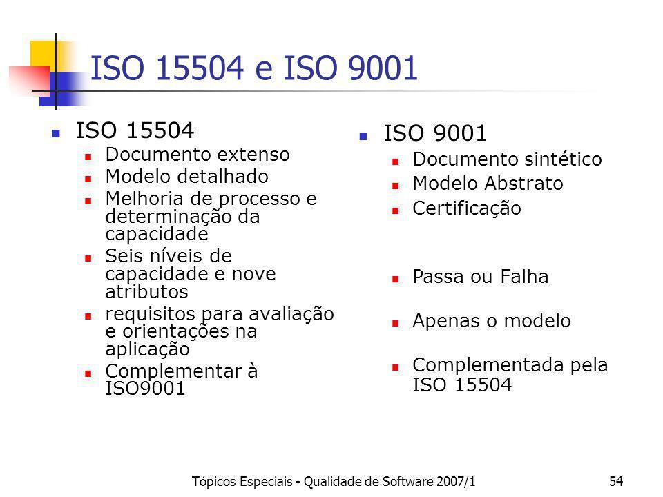 Tópicos Especiais - Qualidade de Software 2007/154 ISO 15504 e ISO 9001 ISO 15504 Documento extenso Modelo detalhado Melhoria de processo e determinaç
