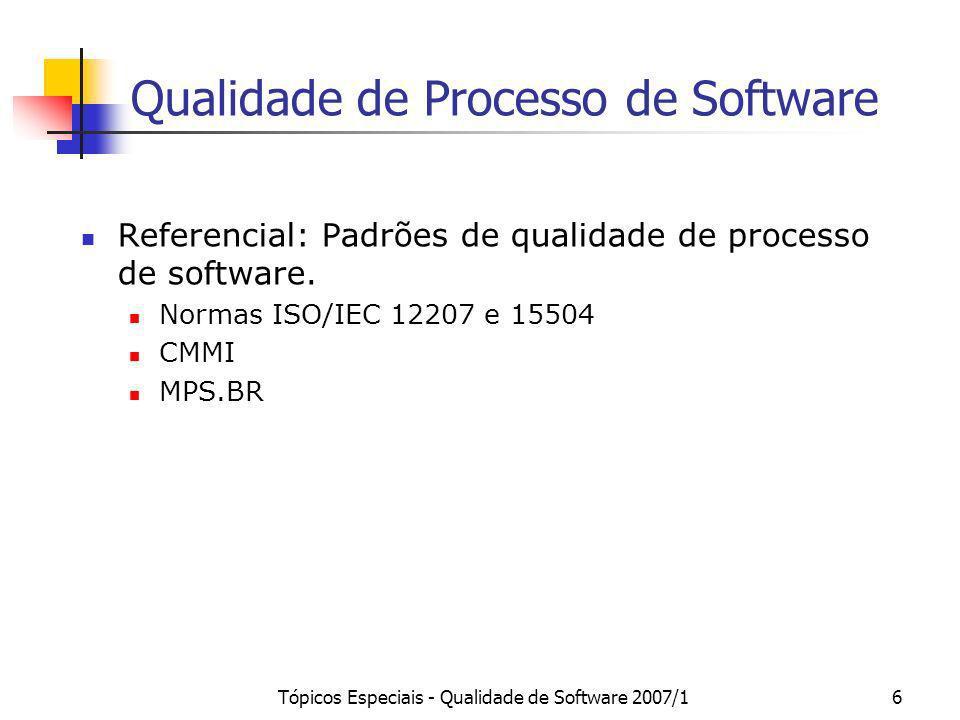 Tópicos Especiais - Qualidade de Software 2007/16 Qualidade de Processo de Software Referencial: Padrões de qualidade de processo de software. Normas