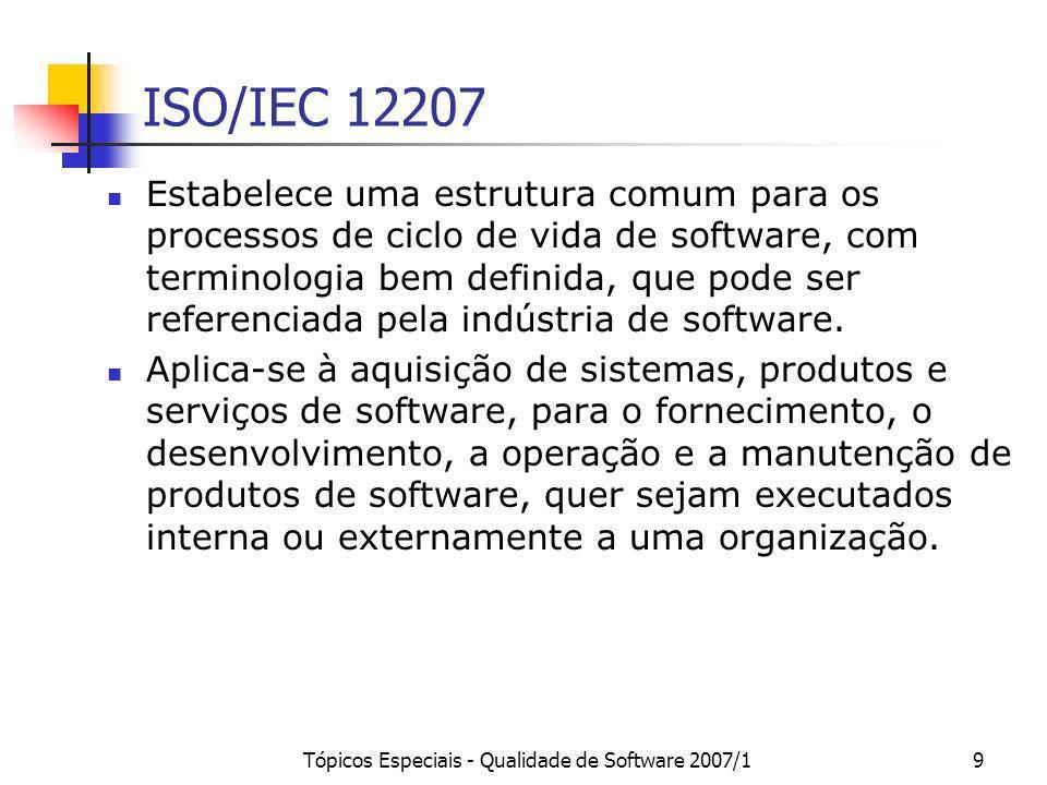 Tópicos Especiais - Qualidade de Software 2007/19 ISO/IEC 12207 Estabelece uma estrutura comum para os processos de ciclo de vida de software, com ter