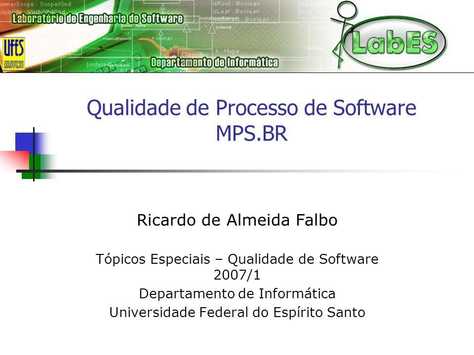 Qualidade de Processo de Software MPS.BR Ricardo de Almeida Falbo Tópicos Especiais – Qualidade de Software 2007/1 Departamento de Informática Universidade Federal do Espírito Santo