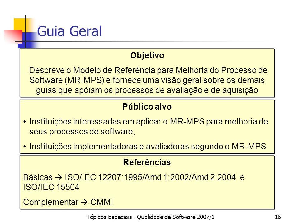 Tópicos Especiais - Qualidade de Software 2007/115 MPS.BR Modelo de Negócio (MN-MPS) Método de Avaliação (MA-MPS) Guia de Aquisição Guia Geral Modelo
