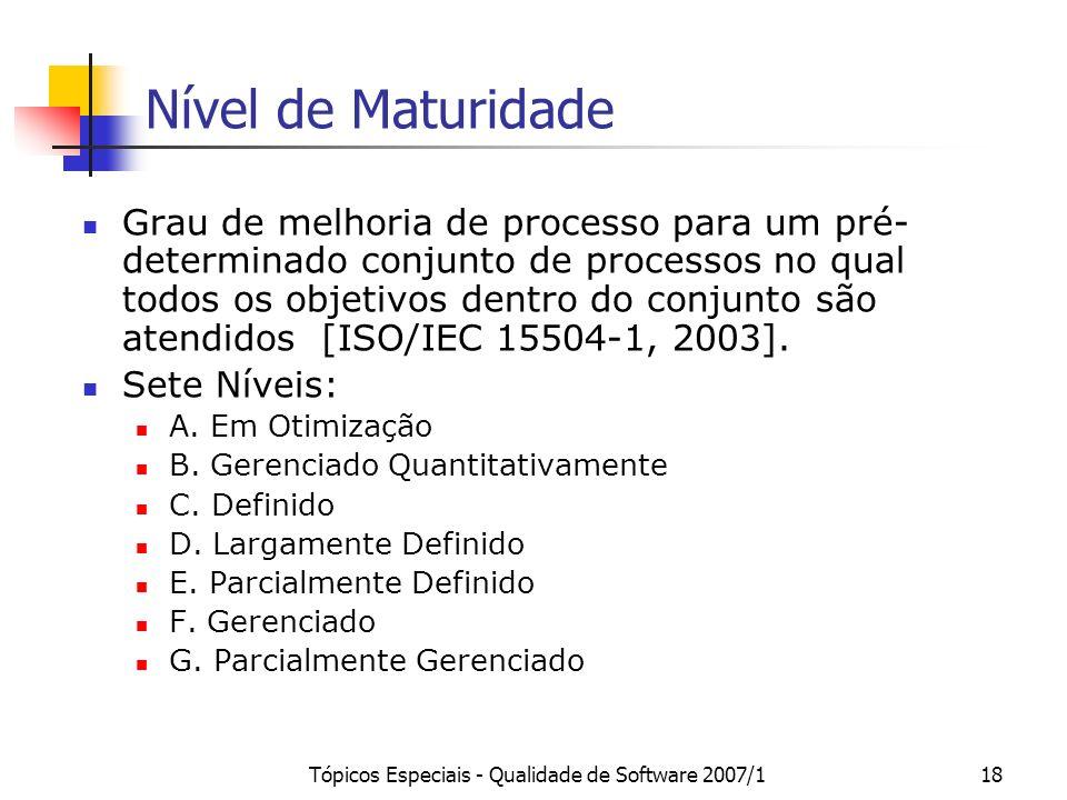 Tópicos Especiais - Qualidade de Software 2007/117 Estrutura do MR-MPS Níveis de maturidade Capacidade Resultado Processo Propósito Resultado Atributo