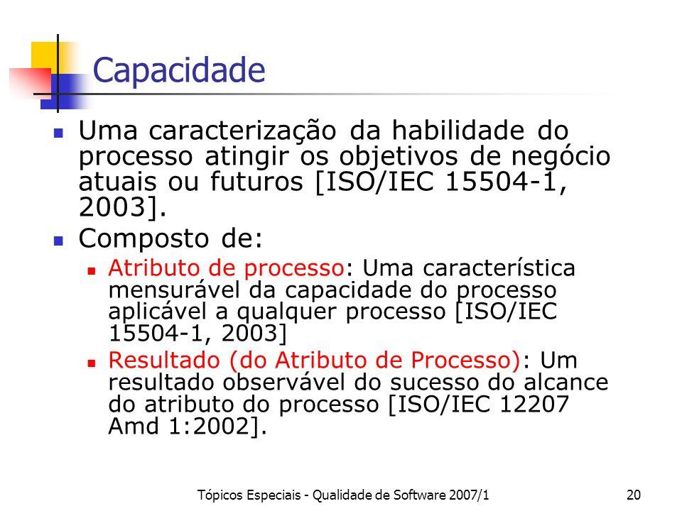 Tópicos Especiais - Qualidade de Software 2007/119 Processo Um conjunto de atividades inter-relacionadas, que transforma entradas em saídas [ISO/IEC 1