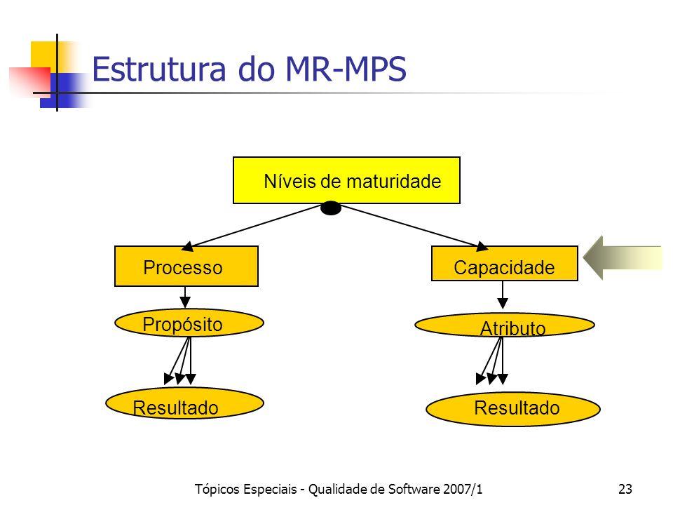 Tópicos Especiais - Qualidade de Software 2007/1 22 Níveis de Maturidade Medição / Gerência de Configuração Aquisição / Garantia da Qualidade Treiname