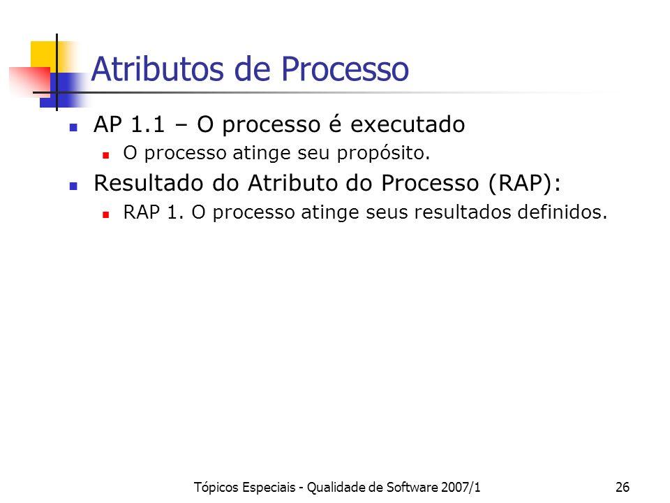 Tópicos Especiais - Qualidade de Software 2007/125 Capacidade e Atributos de Processo Atributos de Processo (AP): AP 1.1 O processo é executado AP 2.1