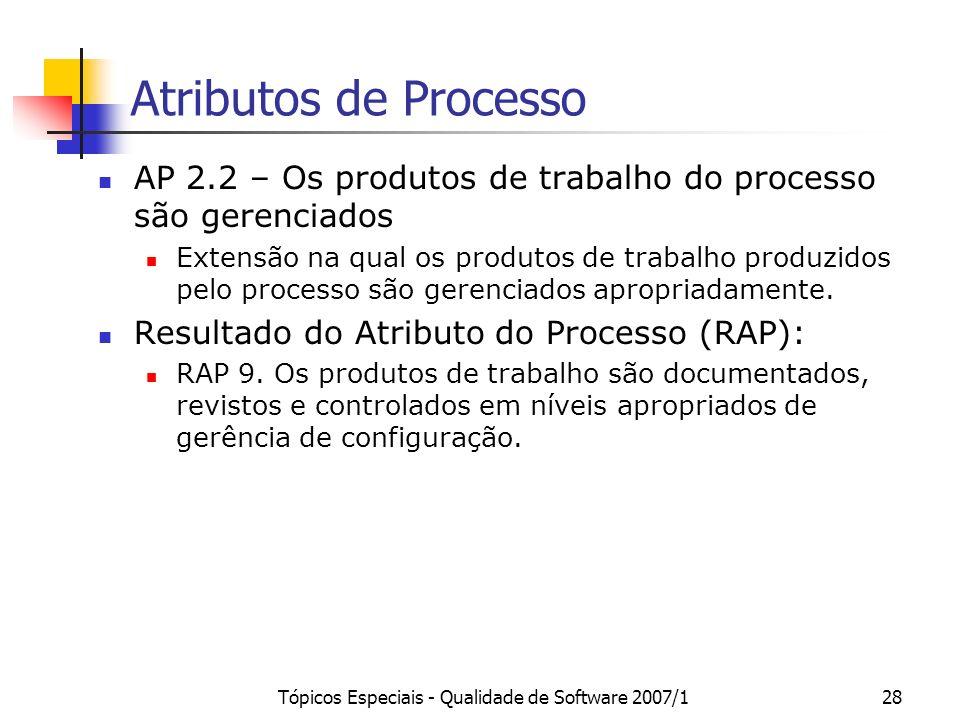 Tópicos Especiais - Qualidade de Software 2007/127 Atributos de Processo AP 2.1 – O processo é gerenciado O atributo de gerência de execução é uma med