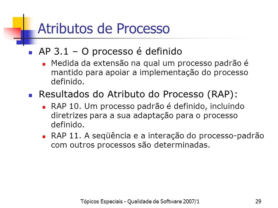 Tópicos Especiais - Qualidade de Software 2007/128 Atributos de Processo AP 2.2 – Os produtos de trabalho do processo são gerenciados Extensão na qual