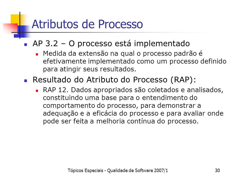 Tópicos Especiais - Qualidade de Software 2007/129 Atributos de Processo AP 3.1 – O processo é definido Medida da extensão na qual um processo padrão