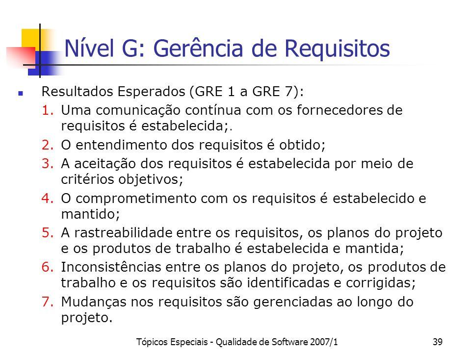 Tópicos Especiais - Qualidade de Software 2007/138 Nível G: Gerência de Requisitos Propósito: Gerenciar os requisitos dos produtos e componentes do pr