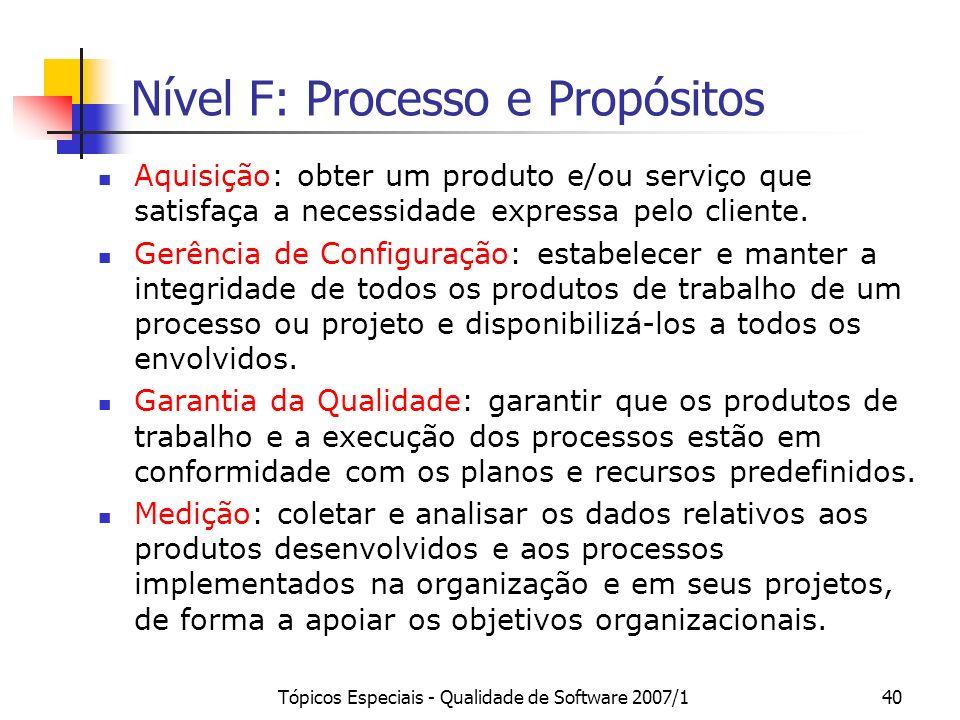 Tópicos Especiais - Qualidade de Software 2007/139 Nível G: Gerência de Requisitos Resultados Esperados (GRE 1 a GRE 7): 1.Uma comunicação contínua co