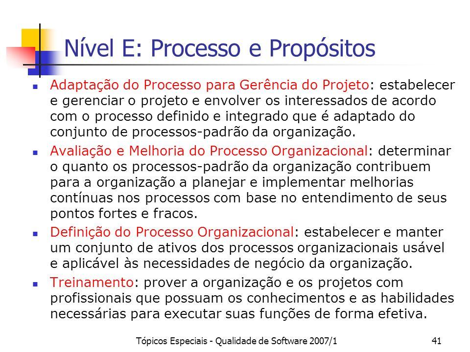 Tópicos Especiais - Qualidade de Software 2007/140 Nível F: Processo e Propósitos Aquisição: obter um produto e/ou serviço que satisfaça a necessidade