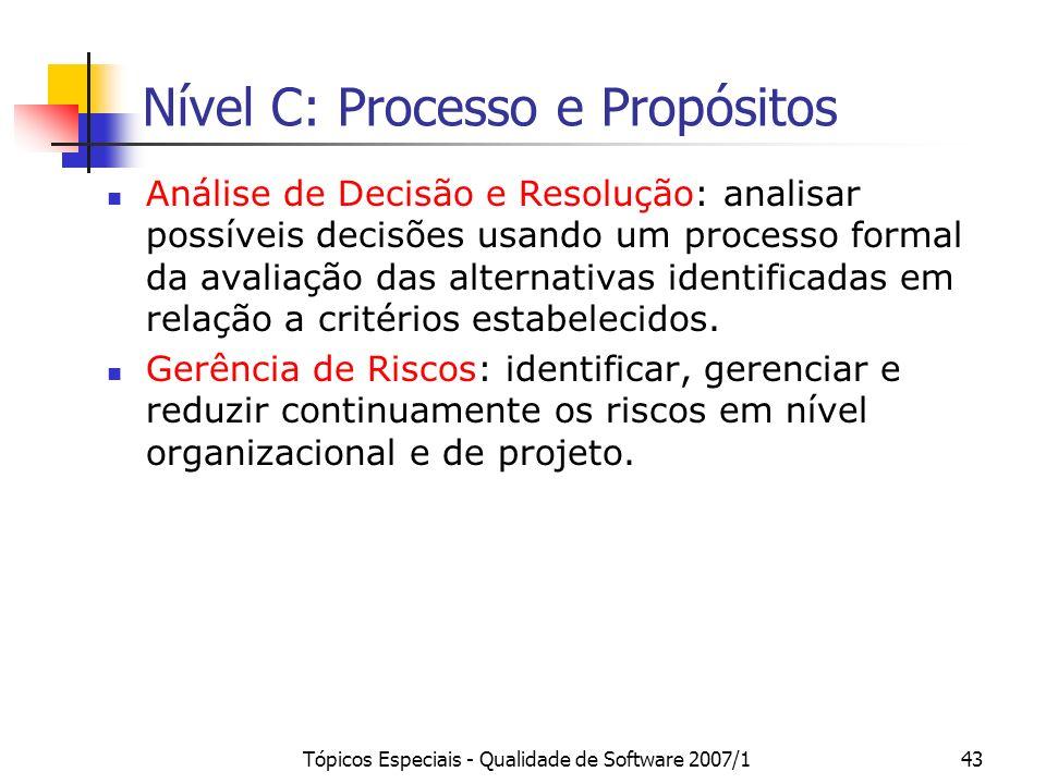 Tópicos Especiais - Qualidade de Software 2007/142 Nível D: Processo e Propósitos Desenvolvimento de Requisitos: estabelecer os requisitos dos compone