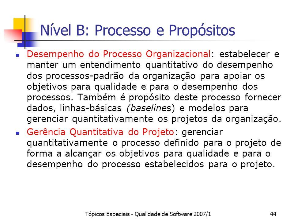 Tópicos Especiais - Qualidade de Software 2007/143 Nível C: Processo e Propósitos Análise de Decisão e Resolução: analisar possíveis decisões usando u