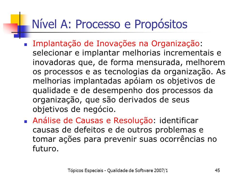 Tópicos Especiais - Qualidade de Software 2007/144 Nível B: Processo e Propósitos Desempenho do Processo Organizacional: estabelecer e manter um enten