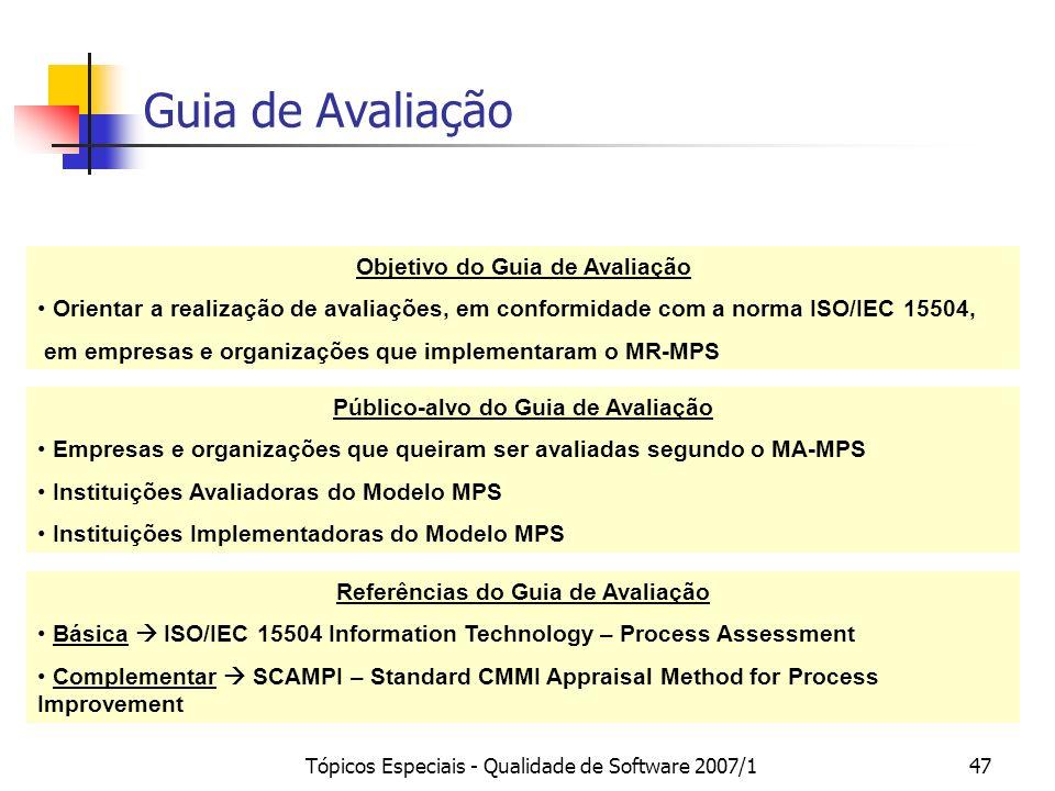 Tópicos Especiais - Qualidade de Software 2007/146 MPS.BR Modelo de Negócio (MN-MPS) Método de Avaliação (MA-MPS) Guia de Aquisição Guia Geral Modelo
