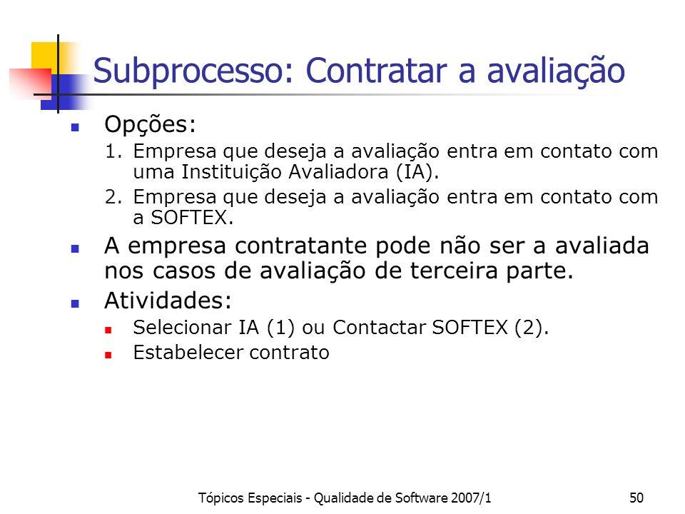 Tópicos Especiais - Qualidade de Software 2007/149 O Processo de Avaliação MPS.BR Contratar a avaliação Preparar para a realização da avaliação Realiz