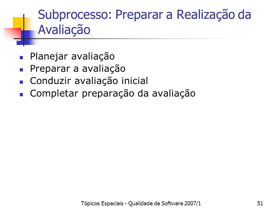 Tópicos Especiais - Qualidade de Software 2007/150 Subprocesso: Contratar a avaliação Opções: 1.Empresa que deseja a avaliação entra em contato com um