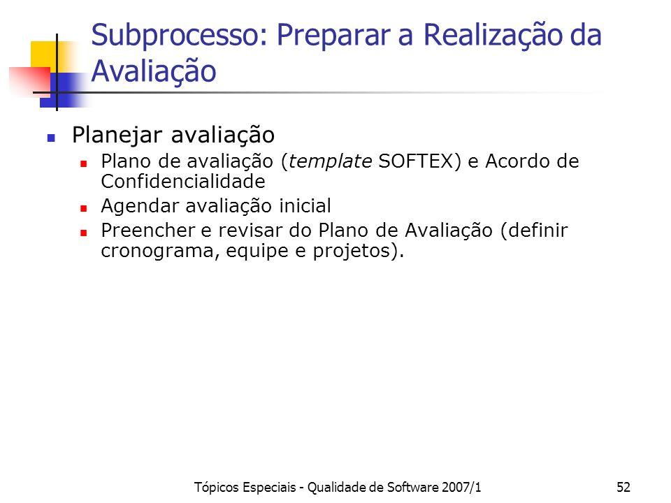 Tópicos Especiais - Qualidade de Software 2007/151 Subprocesso: Preparar a Realização da Avaliação Planejar avaliação Preparar a avaliação Conduzir av