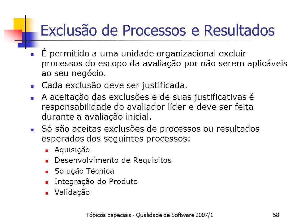 Tópicos Especiais - Qualidade de Software 2007/157 Preparar a Avaliação Preenchimento de Planilha de indicadores (a partir de um template SOFTEX) Indi